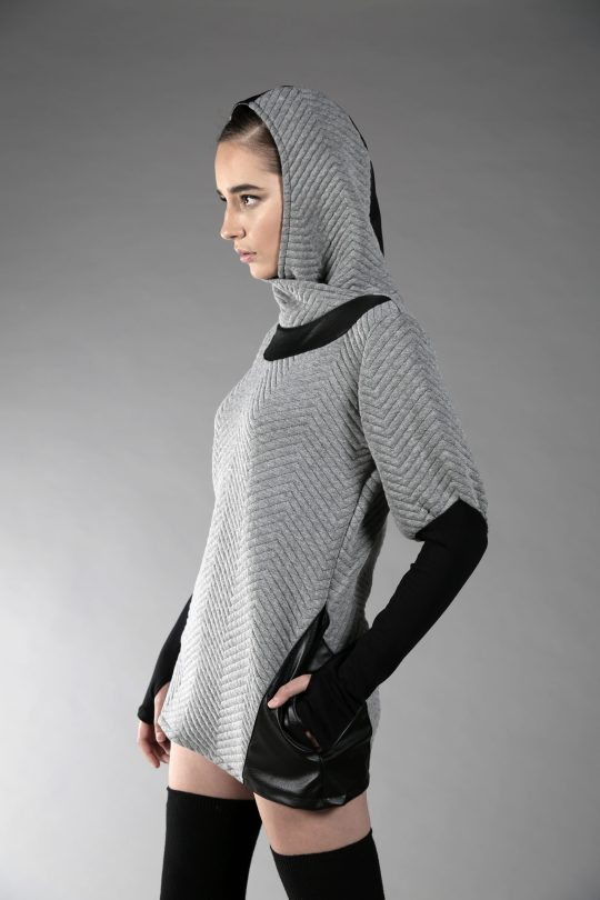 Light Gray pattern pullover made from soft cotton fabric with fake leather and 2 pockets on the side