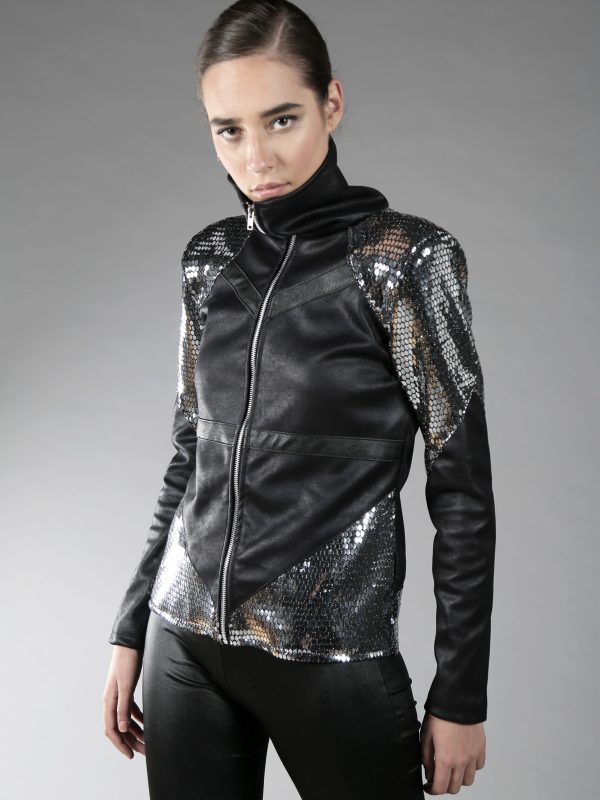 black and silver futuristic jacket with lining, 2 pockets and high zipper