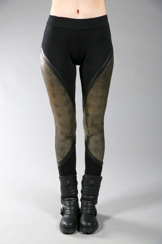 Cotton lycra leggings designed with fake leather and golden fabric