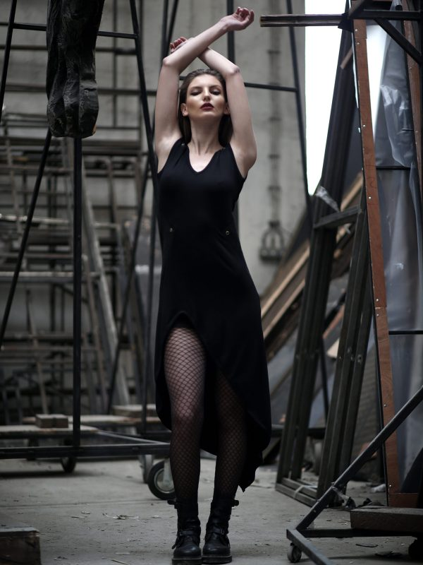 Black long asymmetric dress for any occasion, Loose dress made from soft cotton lycra that beautifully falls on your body.