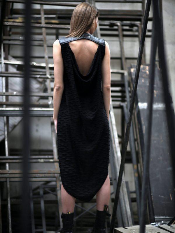 Sleeveless open back black long cardigan for women, designed with vegan eco-leather