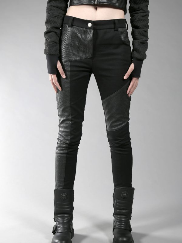 Black jeans designed with fake leather, 2 different patterns