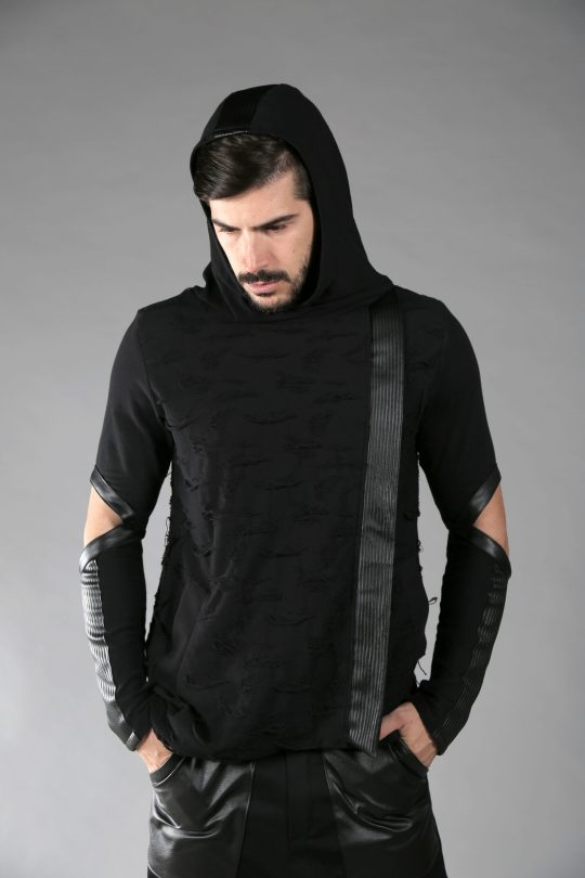 Unique dystopian black hoodie made out of 2 different cotton fabric, designed with fake leather.