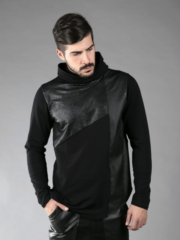 Black cotton lycra pullover/sweatshirt made of 2 different fabrics and fake leather