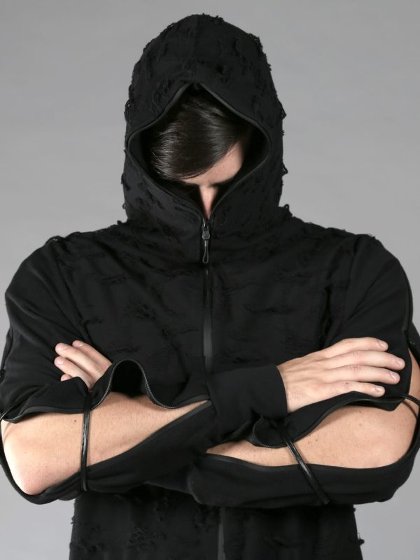 Black zipper hoodie/pullover made from 2 different cotton fabrics. It's half zipper hoodie, with 2 full arm zippers that you can open if you want more crazy look, designed with leather stripes