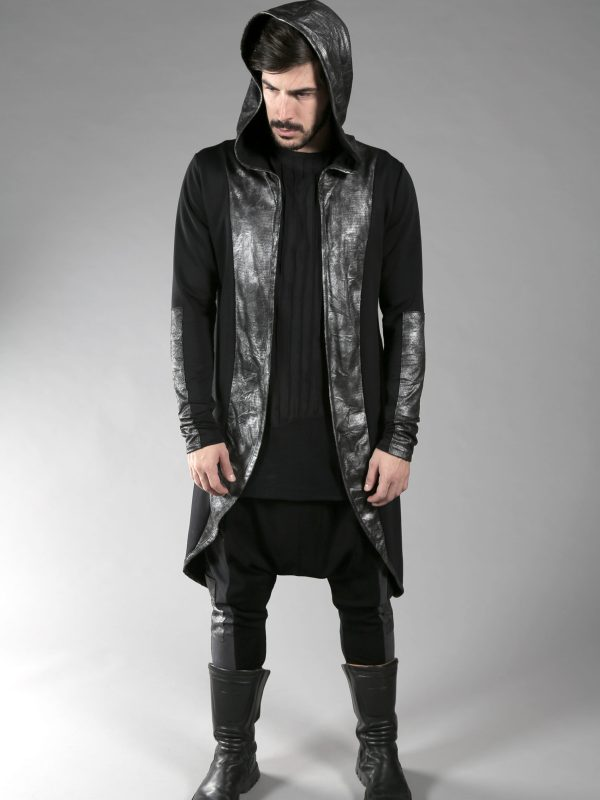 Asymmetric cardigan for men made from soft black cotton lycra fabric and silver polyester, not stretchable wrinkled look fabric