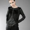 Black short jacket designed with fake leather. With lining.