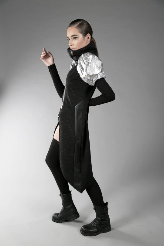 Black and silver cyberpunk jacket from Cotton lycra, fake leather and silver sleeves made of polyester fabric.