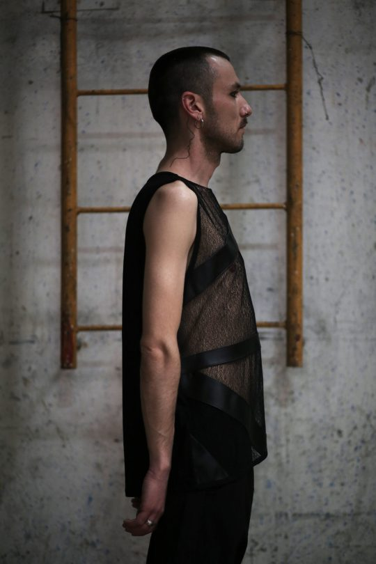 Dark black net men tank made of High quality net on the front designed with vegan eco leather stripes