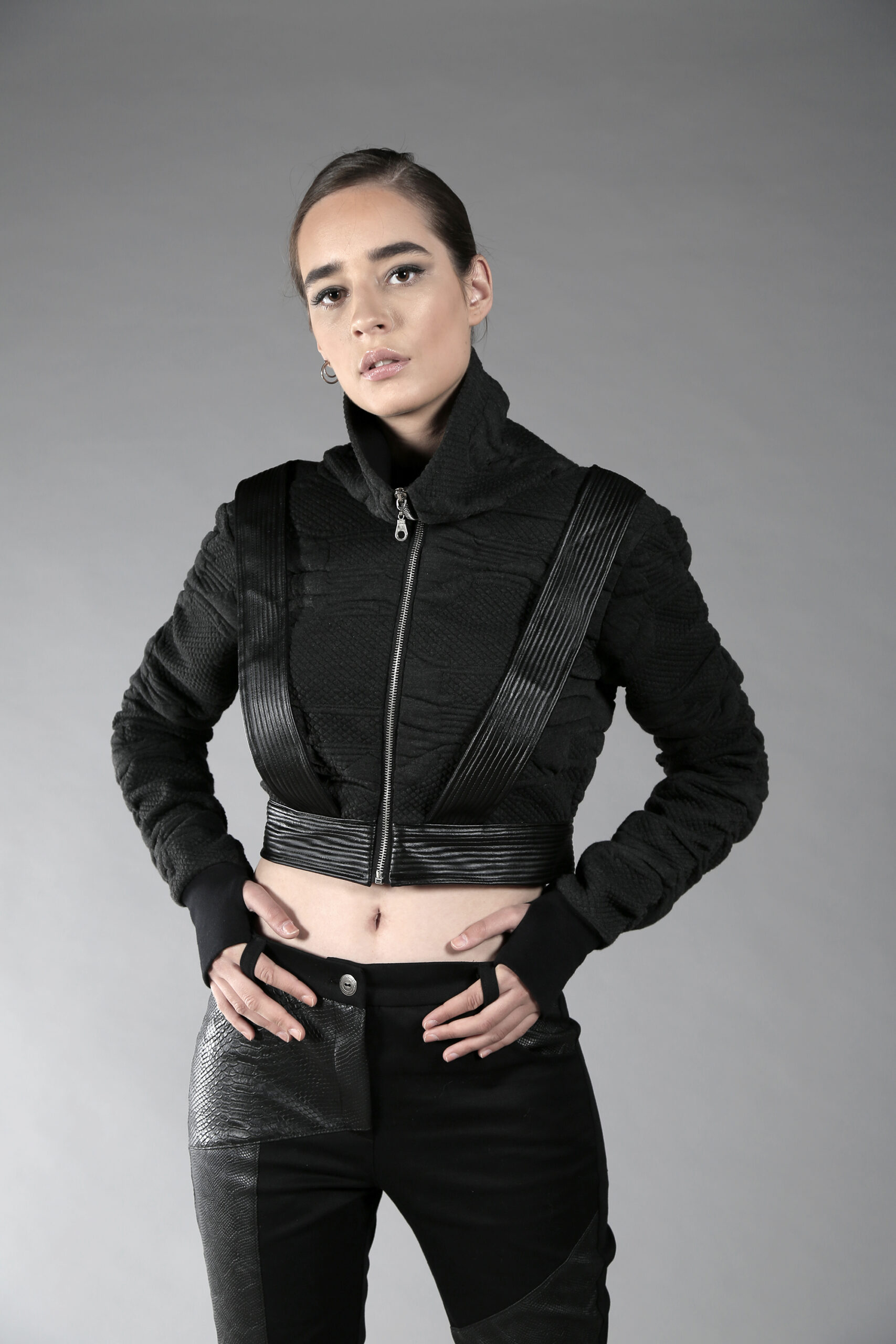 Dark Gray designed pattern short jacket. Thick one layer soft cotton, designed with fake leather stripes. No lining. High neck silver zipper, finger holes.