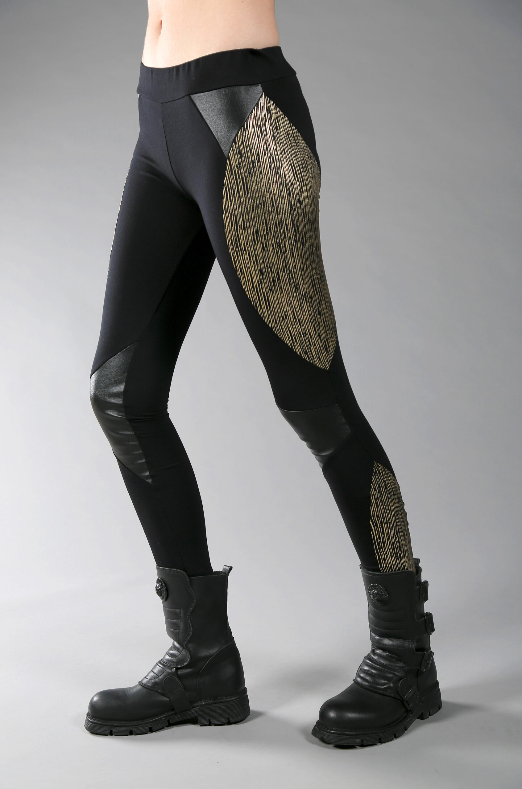 Cotton lycra leggings designed with fake leather and golden fabric. stretchable leggings comfortable for yoga