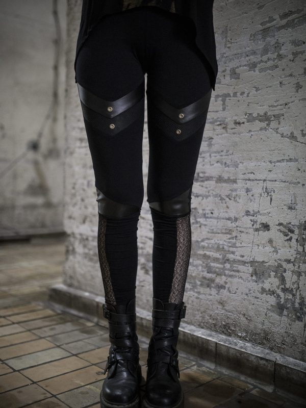 Warrior style of leggings, made from stretchable cotton and vegan leather details designed with brass studs