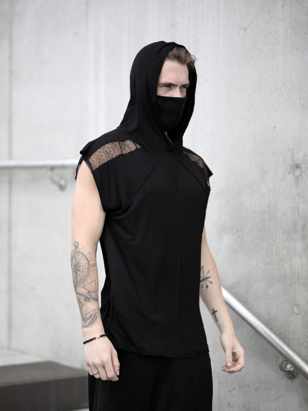 Black viscose tank top for men designed with a transparent net. A perfect men's summer outfit for lovers of alternative fashion, dystopian look and dark fashion.