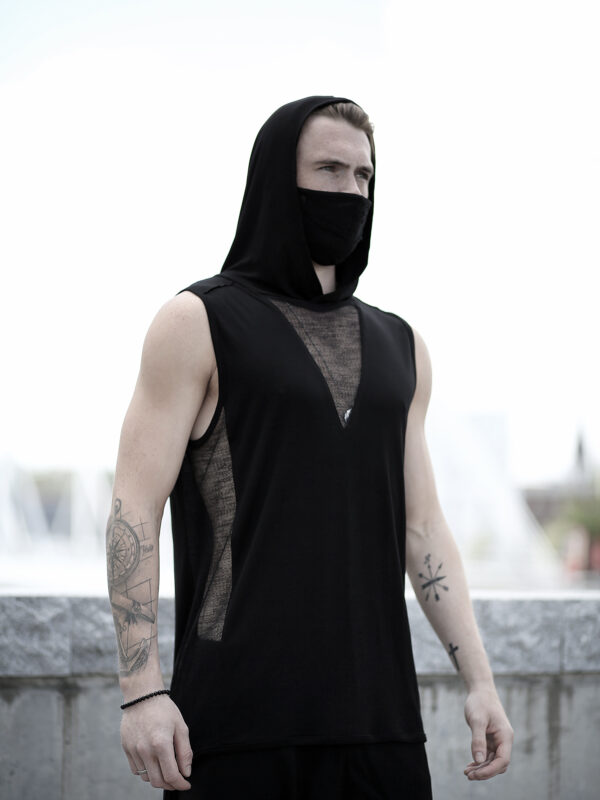 Black viscose tank top for man designed with transparent net.