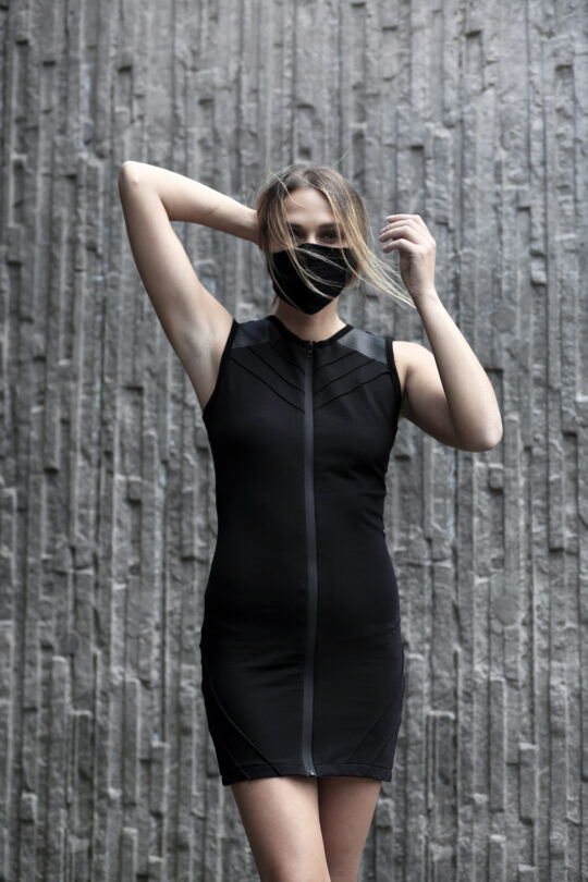 Black cotton lycra dress designed with vegan leather. Full front zipper dress for women in love with dark fashion, alternative, and apocalyptic style. A perfect dress for underground parties.