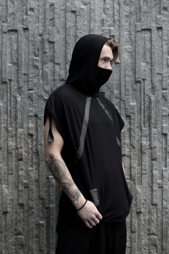 Black cotton hoodie designed with vegan leather stripes for alternative fashion style lovers