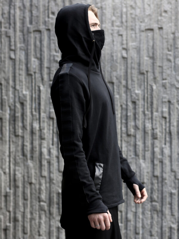 Black cotton hoodie designed with vegan leather stripes.