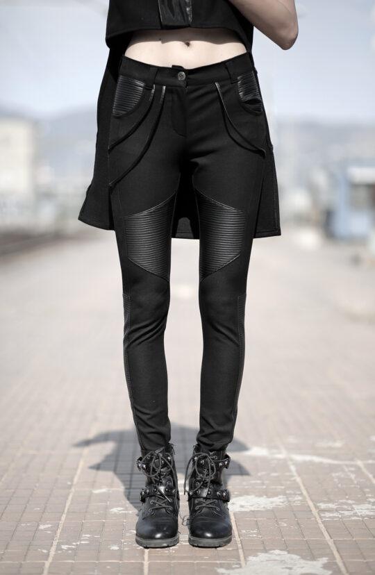 Black jeans designed with fake leather. Tight fit. Unique autumn/winter designer pants. Cyberpunk.