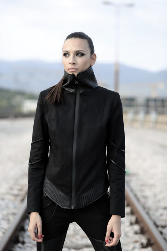 Black denim jacket designed with faux leather details. No pockets. With lining. Perfect for lovers of the following styles: alternative, futuristic, apocalyptic, cyberpunk, postapocalyptic