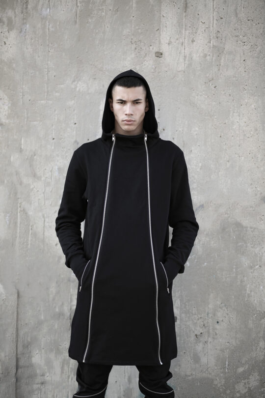 Man soft cotton long hoodie with functional zippers on the front side that you can open from both sides. A unique design for alternative style lovers.