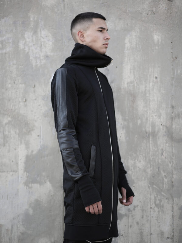 Soft cotton long jacket for man designed with faux leather. With pockets. A perfect choice for lovers of alternative fashion style and designed men's clothes.
