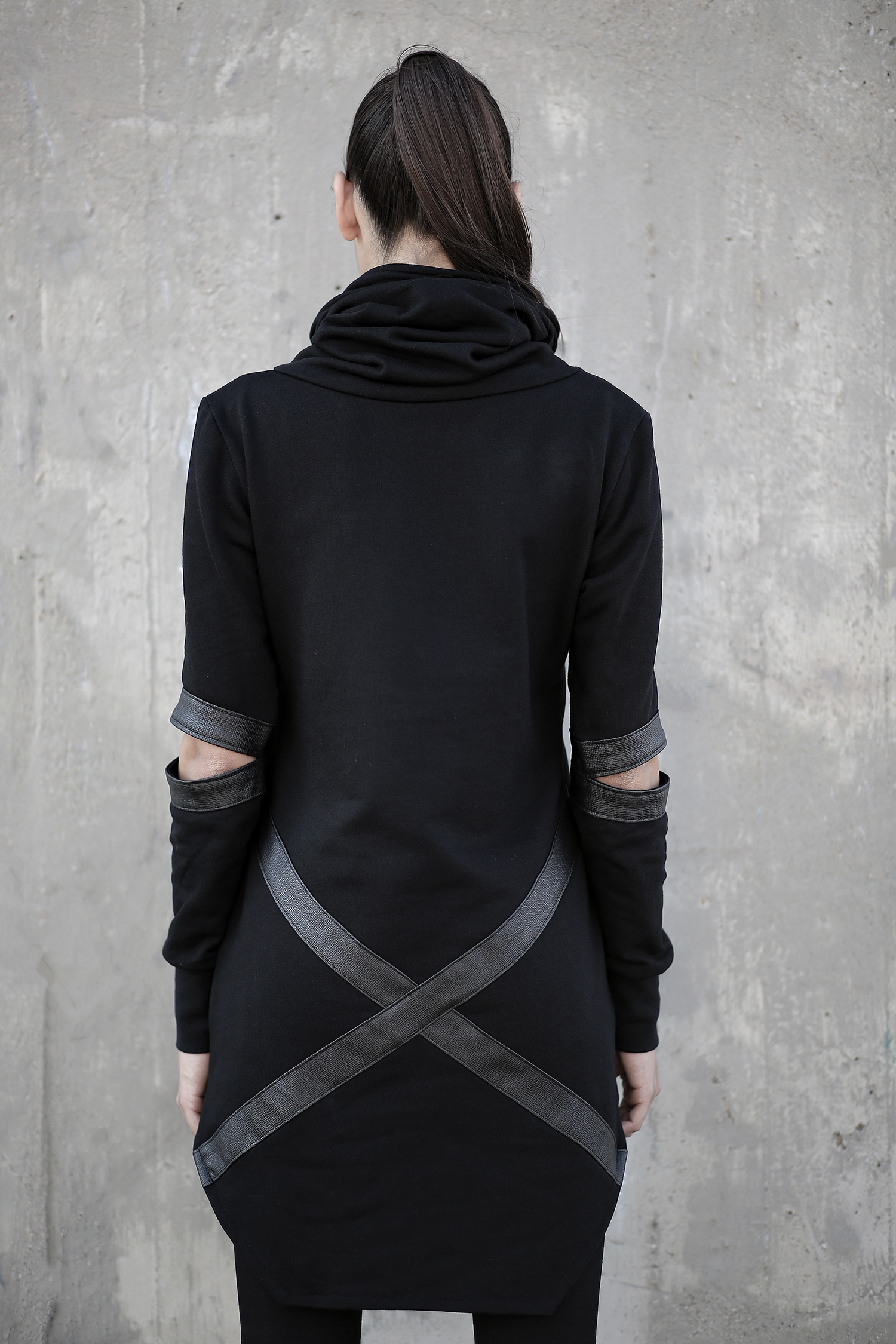 Woman's loose fit soft cotton hoodie designed with faux leather details. Flawless design and highest quality.